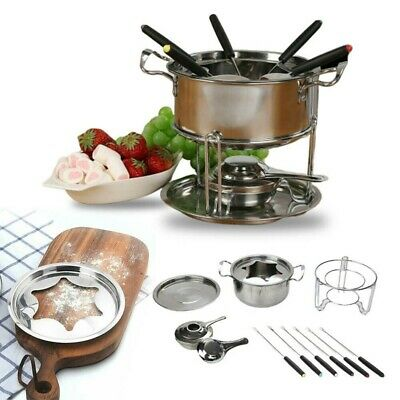 £17.49 • Buy Cheese Chocolate Fondue Set Melting Pot Stainless Steel W6 Forks&Fuel Burner New