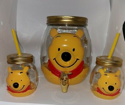 £25 • Buy Winnie The Pooh Dispenser And Mason Jar Pair, Drinking Cups, Party Children