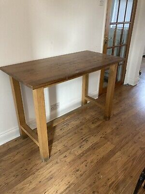 Vintage / School Iroko Science Lab Table/Dining Table  / Kitchen Table Island / • 120£