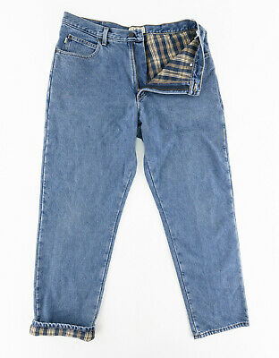 $44.97 • Buy LL Bean Mens 36x32 Natural Fit Flannel Lined Denim Jeans Blue Cotton