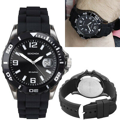 Sekonda Party Time Watch Gents Mens Black Dial With Date & Black Rubber Strap • 26.95£