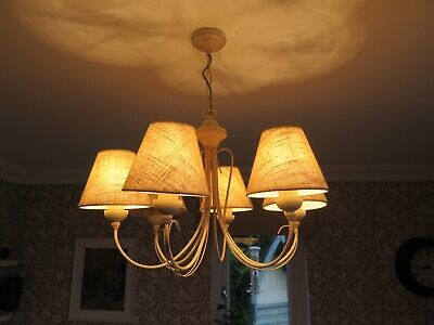 £29.99 • Buy 6 Arm Shabby Chic CHANDELIER CEILING LIGHT With Beige/cream Linen Lamp Shades
