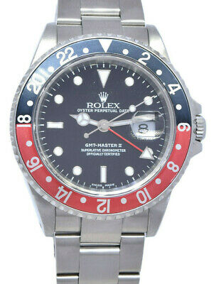 $ CDN14204.26 • Buy Rolex GMT-Master II Steel Red/Black Coke Bezel Mens 40mm Watch R 16710