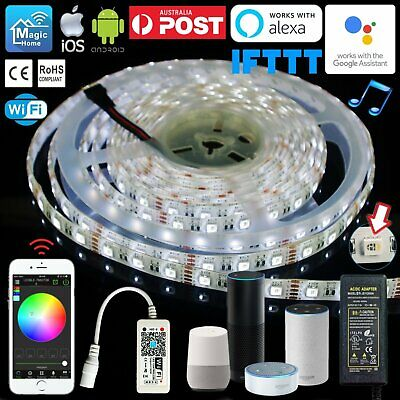 AU14.64 • Buy 1M-10M 4 In 1 RGBW LED Light Strip Smart Wifi Controller Alexa Google Assistant