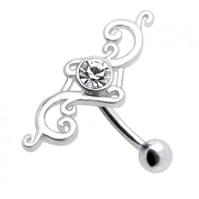 £9.95 • Buy Silver Reverse Belly Bar Clear Jewelled Inverted Top Drop Navel Ring