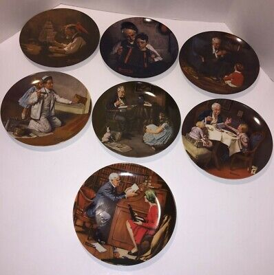 $ CDN44.24 • Buy Vintage Lot Of 7 Norman Rockwell Heritage Collection Plates Knowles Numbered Ltd