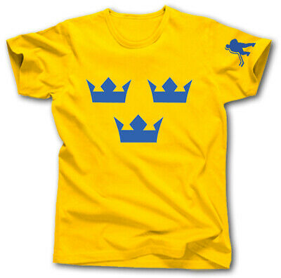 SWEDEN ICE HOCKEY NATIONAL TEAM T-Shirt S-XXXL TRE KRONOR CROWNS NHL KHL • 12.87£