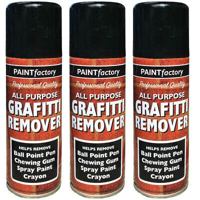 3x Graffiti Remover Spray Paint Can Wall Metal Wood Stone Home Walls 5242 250ML • 9.99£