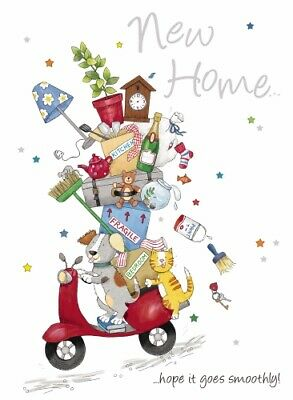 New Home Greeting Card & Envelope By Noel Tatt - Cat And Dog On Scooter • 1.99£