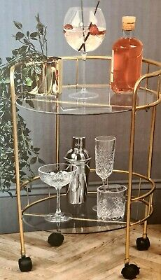 £54.99 • Buy Gold Art Deco Glamour Drinks Trolley Glass Shelves 2 Tier Castor Wheels Party
