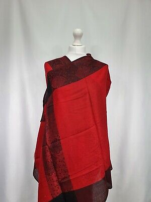 £15 • Buy Kashmiri Indian Red Shawl Women's Scarf Floral Embroidery Pashmina Cashmere Wool