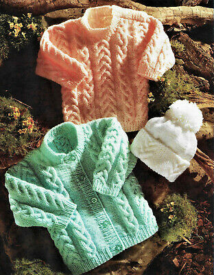 £2.79 • Buy Baby Knitting Pattern For Cardigan,Sweater & Hat In DK To Fit 16-24''   B51