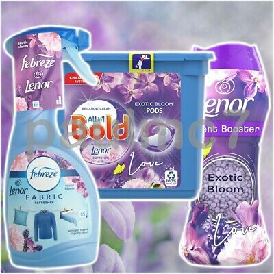 LENOR EXOTIC BLOOM SET Febreze Fabric Refresher Spray/Scent Booster & Bold Pods • 12.98£