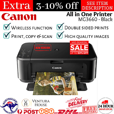 AU93.75 • Buy Canon Pixma Home MG3660 Inkjet Printer All In One Print A4 Photo Document Wi-Fi