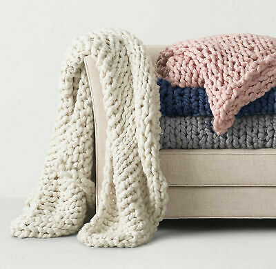 £16.99 • Buy Best Luxury Wool Chunky Cable Knit Hand-woven Sofa Bed Chair Blanket Throw