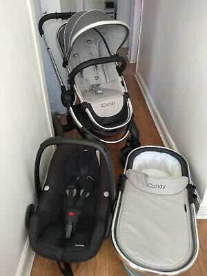 Icandy Peach 4 In Truffle Travel System / Pram / Stroller & Maxicosi Pebble  • 249£
