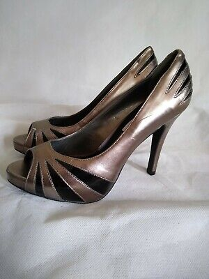 STEVE MADDEN Size 4 BRONZE / PEWTER & Clear Faux Leather STILETTO HEEL Shoes-BNW • 19.99£