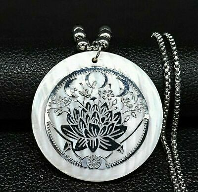 $ CDN11.90 • Buy Lotus Flower Yoga Buddhism Flower Crescent Symbol Shell Nacre Necklace Pendant