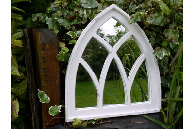 £49.99 • Buy Gothic Arch Garden Mirror With Vintage White Painted Finish. 62 X 55cm