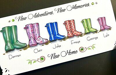 Handmade Personalised 'Wellies'  New Home Card (up To 6 Names) • 4.30£
