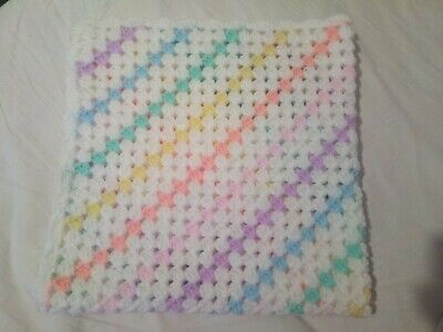 Rainbow And White  Hand Crochet Baby Blanket   (31x31 ) (79x79cms) • 8.99£