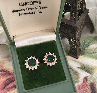 AU195 • Buy Vintage Jewellery Gold Earrings Emeralds White Sapphires Antique Deco Jewelry