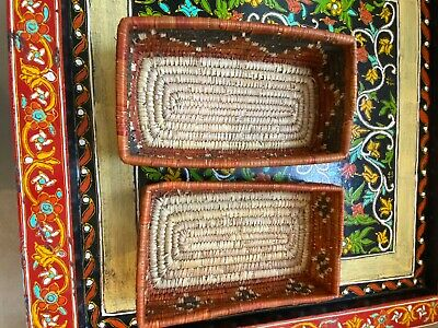 Two Rectangle Wicker Baskets, Handmade, Woven In Pakistan Brown And Black  • 30£