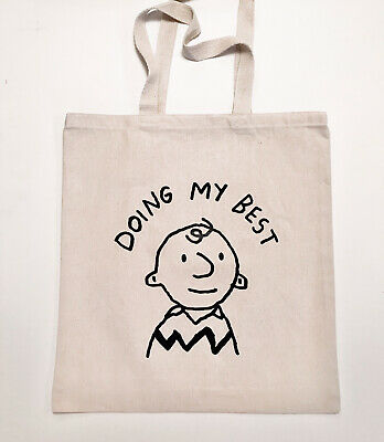 £14.16 • Buy Charlie Brown Peanuts Tote Bag - New Snoopy Funny - Vintage Rare Cotton Shirt :)