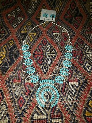 $ CDN1078.40 • Buy Sterling Silver Turquoise Squash Blossom Necklace And Earrings Set Signed AW