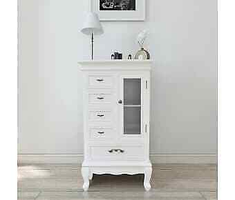 £275.95 • Buy White Antique Style Cabinet - 5 Drawers 2 Shelves Glass Door Storage