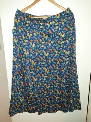 Cotswold Collection 100% Cotton Navy Floral Skirt XL • 9.50£