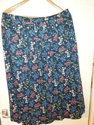 Cotswold Collection 100% Cotton Navy Floral Skirt Lined Size 18 • 12.50£