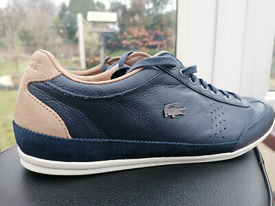Lacoste Mens Misano 34 SRM Trainers, UK 9, Blue Grained Leather With Suede Trim • 55£