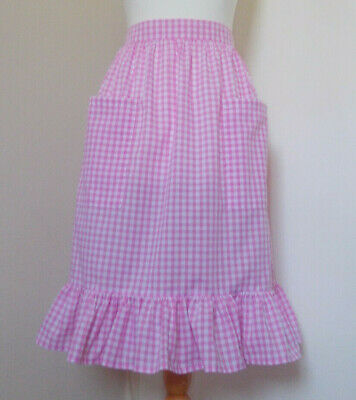 £8.50 • Buy Frilly 'Pink Gingham' Vintage Style Half / Waist Apron/Pinny