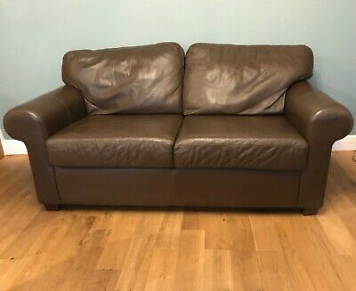 Ikea Dark Brown Leather Sofa Very Good Condition • 85£