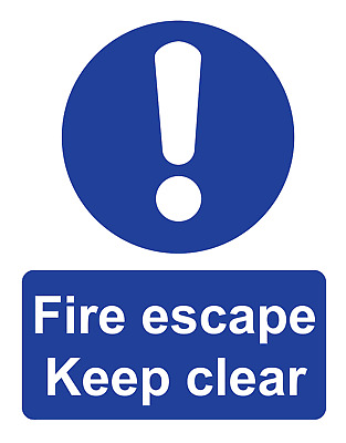 Warning Danger Fire Escape Keep Clear Adhesive Gloss Sticker Sign 160mm X 125mm • 1.75£