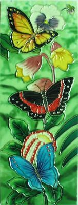 £23.99 • Buy 6x16 Inch BUTTERFLY GATHERING Ceramic Wall Art Plaque / Art Ceramic Tile Picture