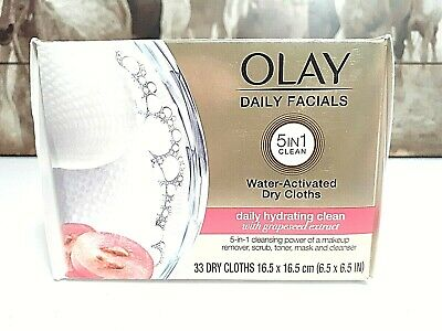AU15.70 • Buy OLAY DAILY FACIALS DRY CLOTHS GRAPESEED 5 In 1 CLEAN, WATER ACTIVATED  33CT