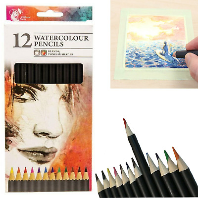 £2.25 • Buy 12 Watercolour Artist Pencils For Drawing Painting Sketching Art Kids Adults UK