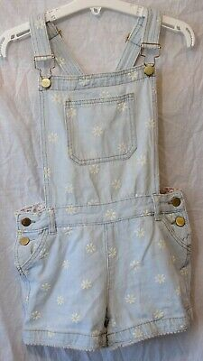 Girls M&Co Light Blue Denim Daisy Floral Short Dungarees Playsuit Age 9-10 Years • 8.50£
