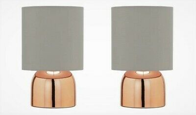Home Pair Of Touch Lamps - Grey And Rose Gold Bedroom Table Lamp. Cosy Light. • 24.99£