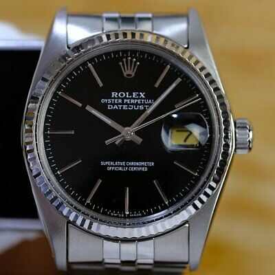 $ CDN8056.25 • Buy Rolex Men's Datejust  Steel Factory Black Dial Fluted Bezel  36mm Watch