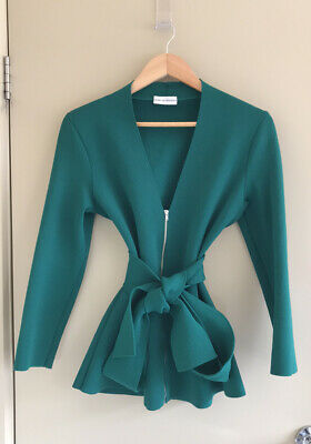 AU350 • Buy Scanlan Theodore Emerald Green Crepe Knit V-Neck Peplum Belted Jacket Size L