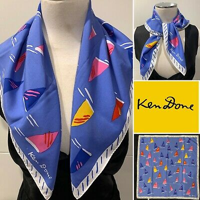 £34.78 • Buy KEN DONE Vintage  Sailing In The Harbour  Blue,Red,Yellow Combo Scarf 62cm X62cm