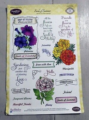 JustRite Clear Stamp Set - Seeds Of Summer - 26 Clear Stamps, Flowers, Words • 4.99£