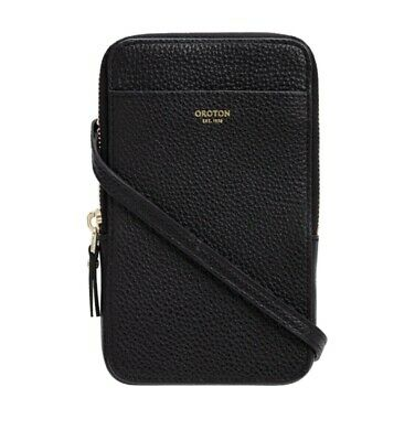 AU135 • Buy Oroton Black Pebble Leather Phone Crossbody (Brand New With Tags & Dust Bag)