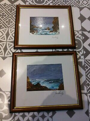 Pair Of Oil Painting On Canvas Sea Coastal Scene 1998 Framed & Signed By Artist  • 50£
