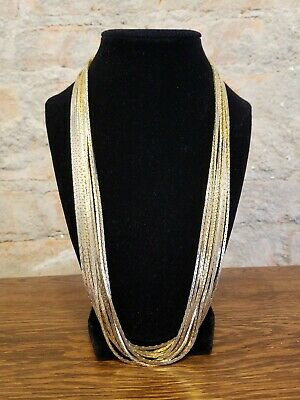 £16.28 • Buy Gold Tone Multi 10 Strand Flat Link Snake Chain Necklace