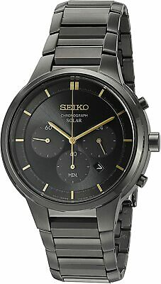$ CDN156.65 • Buy Seiko SSC441 Solar Black Ion-Plated Chronograph Date Dial Mens Classic Watch