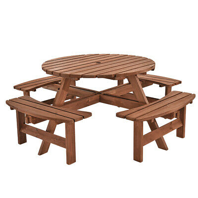 £252.36 • Buy 6 / 8 SeaterS Wooden Furniture Set Pub Bench Round Outdoor Picnic Table Garden